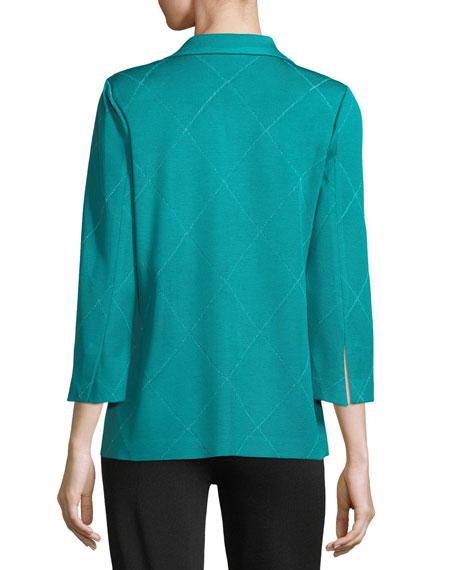 3-Button Diamond Jacquard Knit Jacket, Plus Size