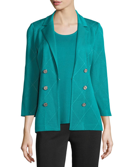 Misook 3-Button Diamond Jacquard Knit Jacket and Matching