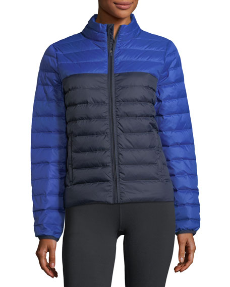 Colorblock Packable Down Puffer Jacket