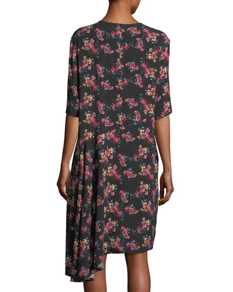Rima Crewneck Half-Sleeve Floral-Print Dress
