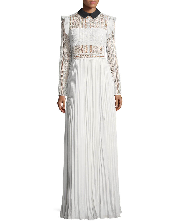 Quick Look. Self-Portrait · Long-Sleeve Paneled Lace Maxi Dress