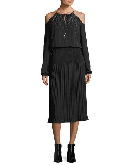 MICHAEL Michael Kors Embellished Cold-Shoulder Pleated Midi Dress