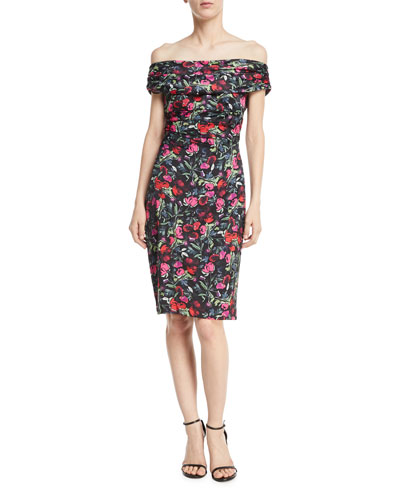Floral Off-the-Shoulder Knee-Length Dress