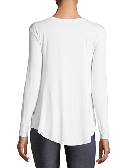 Image 2 of 2: Terez Crewneck Twist-Front Long-Sleeve Tee