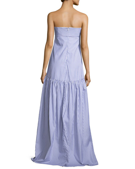 Strapless Bustier Striped Poplin Maxi Dress