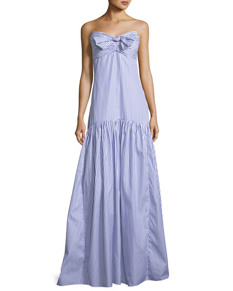Caroline Constas Strapless Bustier Striped Poplin Maxi Dress