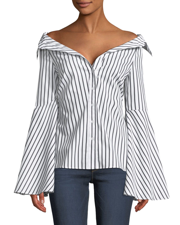 d0db0f4d7ca Caroline Constas Persephone Off-the-Shoulder Button-Front Striped Poplin Top
