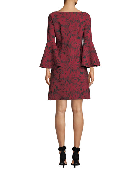 Natalia Bell-Sleeve Floral-Print Dress