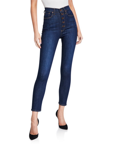 High-Rise Exposed Buttons Skinny Jeans