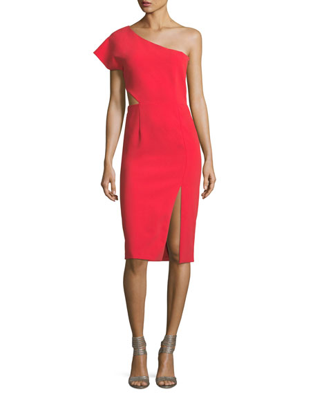 Alice + Olivia Gina One-Shoulder Cutout Fitted Dress