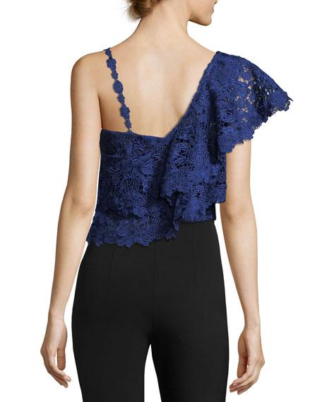 Saba One-Shoulder Lace Ruffle Crop Top