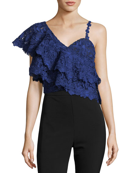 Alice And Olivia  SABA ONE-SHOULDER LACE RUFFLE CROP TOP