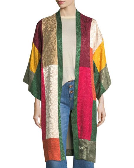 AO.LA Lupe Long Patchwork Jacquard Kimono