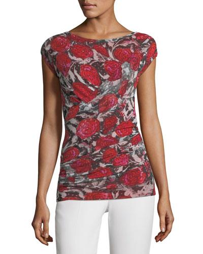 Rose-Print Cap-Sleeve Top