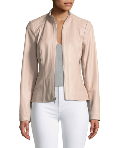 Quilted-Shoulder Zip-Front Leather Jacket