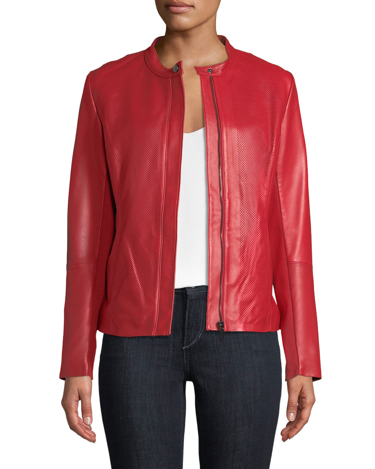 Neiman Marcus Perforated Zip-Front Leather Jacket | Neiman ...
