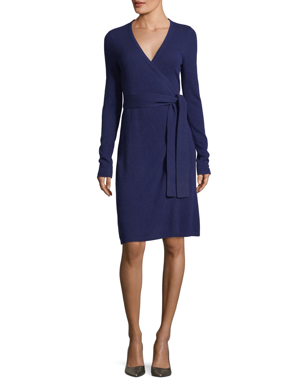 Ginia Cashmere Gowns Wrap Gown: Diane Von Furstenberg Linda Long-Sleeve Belted Cashmere