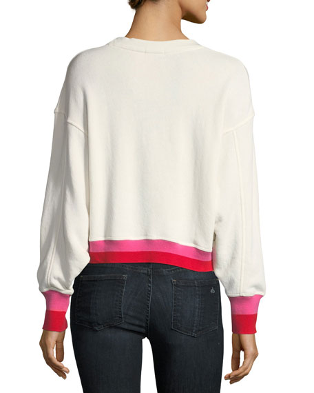 Caleigh B Crewneck Floral-Print Two-Tone Pullover Sweater