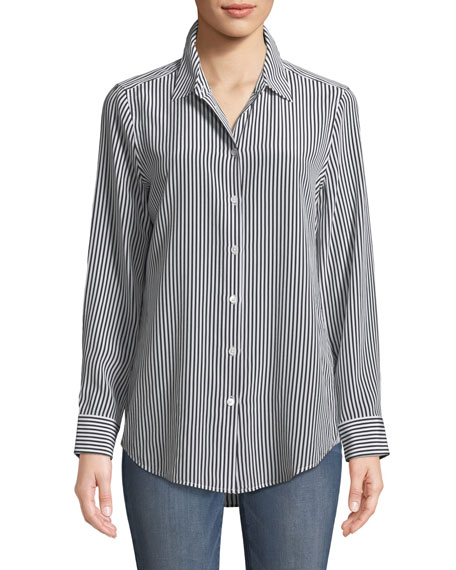 Equipment Essential Button-Front Striped Silk Shirt