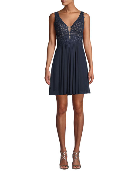 Faviana Embellished Lace Mini Cocktail Dress w/ Mesh