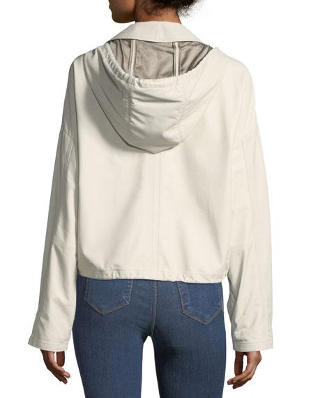 Hooded Cropped Anorak Napa Leather Jacket