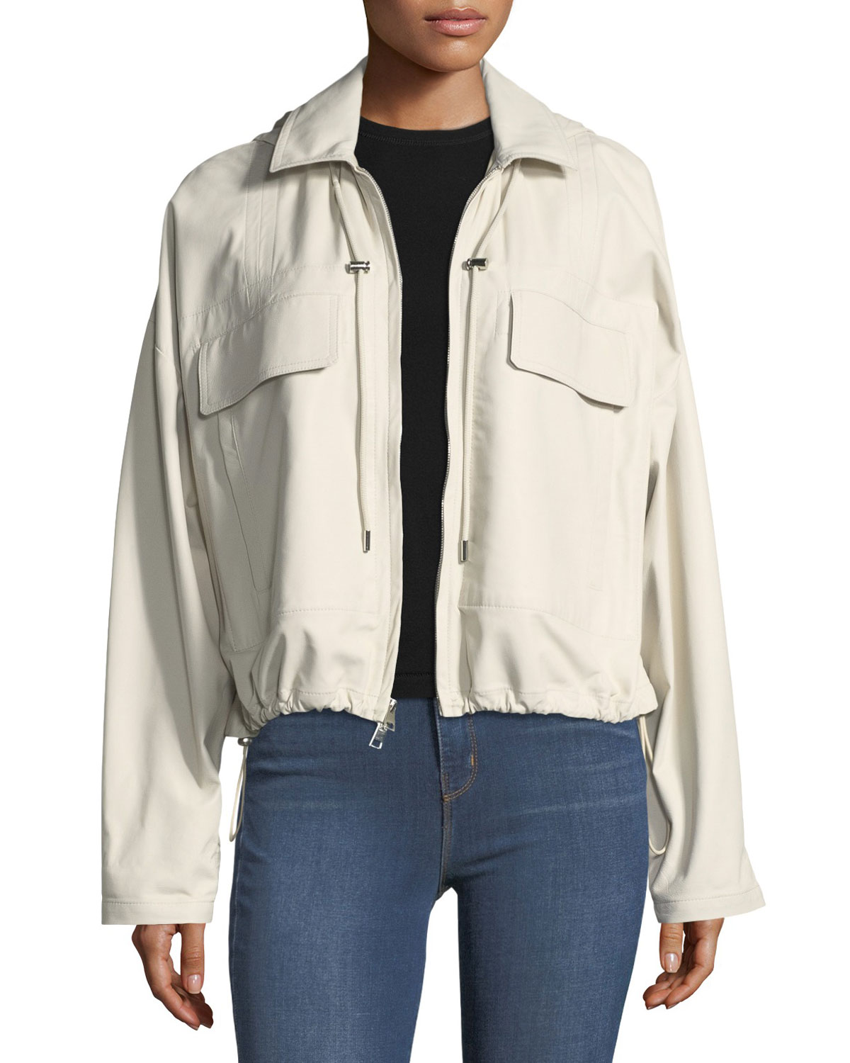 Theory Hooded Cropped Anorak Napa Leather Jacket | Neiman ...