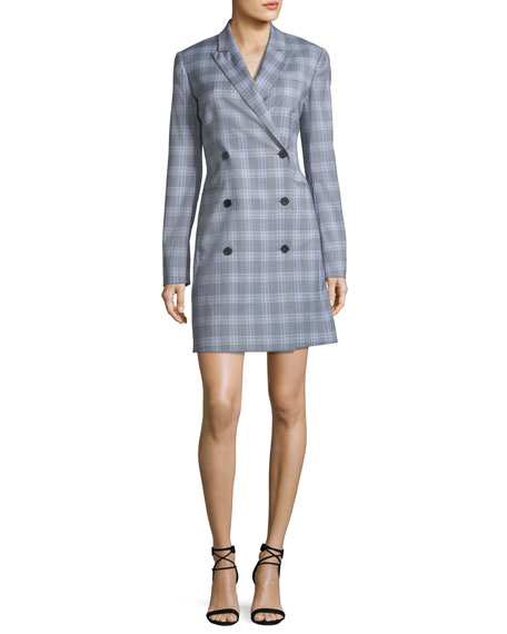 Double-Breasted Maple Check Blazer Dress