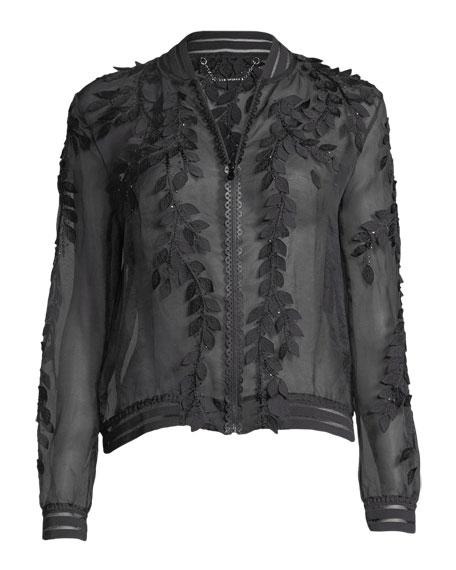 Brandy Floral Illusion Silk Bomber Jacket