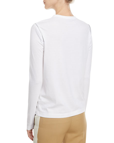 Shoulder-Zip Long-Sleeve Top