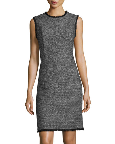 Sleeveless Textured Tweed Sheath Short Dress