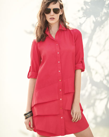 Jenna Easy Ruffle-Tiered Shirtdress