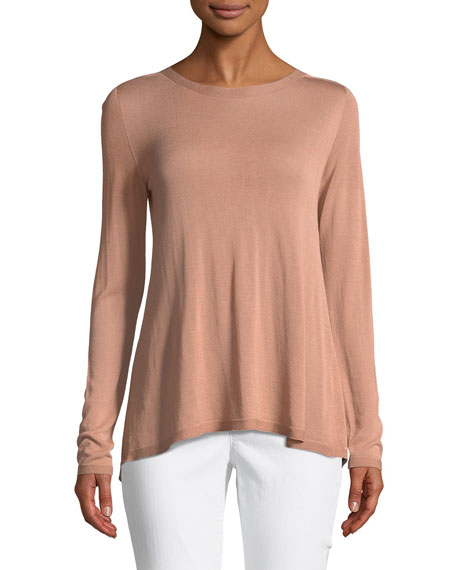 Sleek Seamless Jewel-Neck Top, Petite