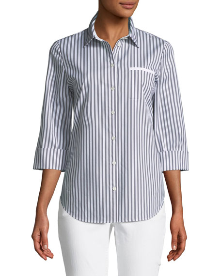 Paget Highbridge Striped 3/4-Sleeve Button-Front Top