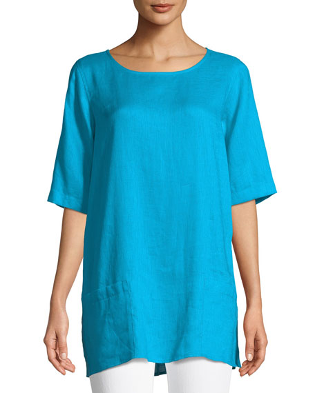 Image 1 of 2: Tissue Linen Front-Pocket Tunic , Petite