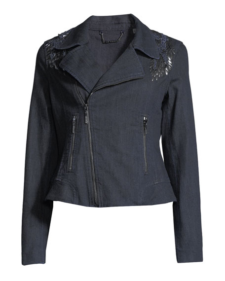 Mae Lace-Inset Denim Moto Jacket