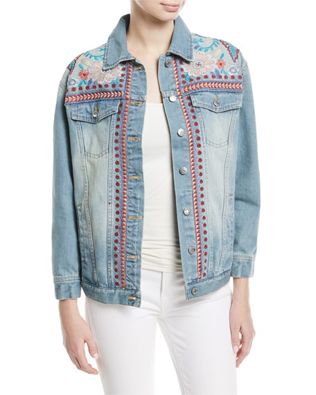 Johnny Was Oman Embroidered Denim Jacket