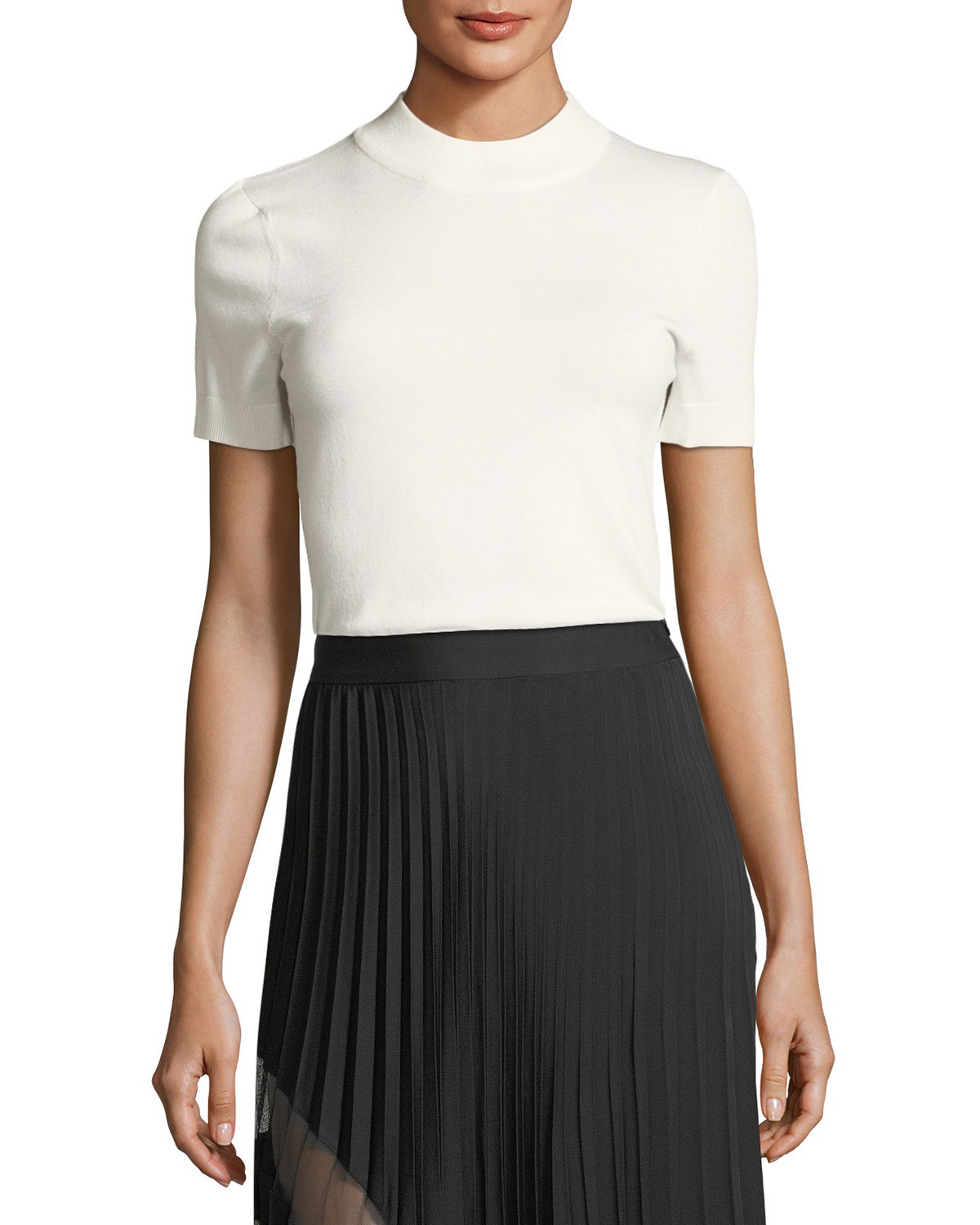 MILLY Womens Mod Neck Top