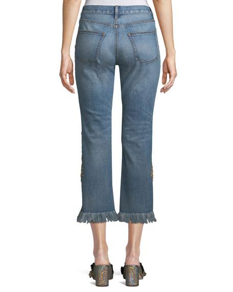 Embellished Rae Pants w/ Frayed Hem