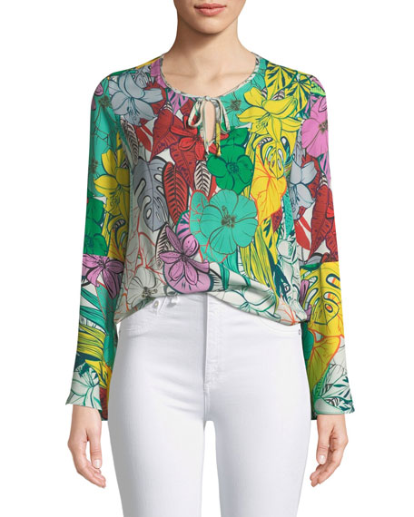 Yesenia Floral Self-Tie Silk Blouse