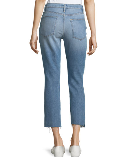 Le High Straight-Leg Raw-Edge Slit Jeans