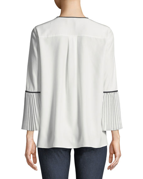 Nemy Matte Silk Blouse w/ Contrast Piping