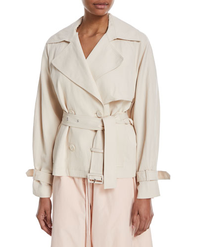 Cropped Double-Breasted Trench Coat