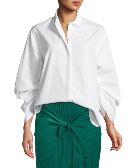 Button Front Cinched Cotton Poplin Shirt by Neiman Marcus