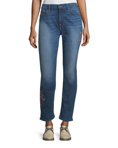 Embroidered Ankle Skinny Jeans, Garden City