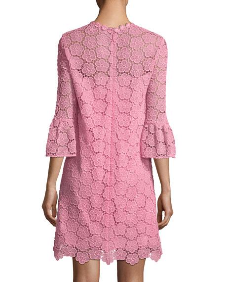 bloom flower bell-sleeve lace dress