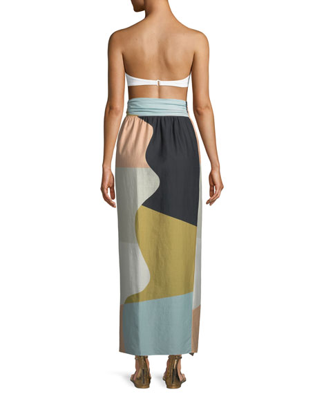 Cora Colorblocked Convertible Cotton Coverup Maxi Skirt