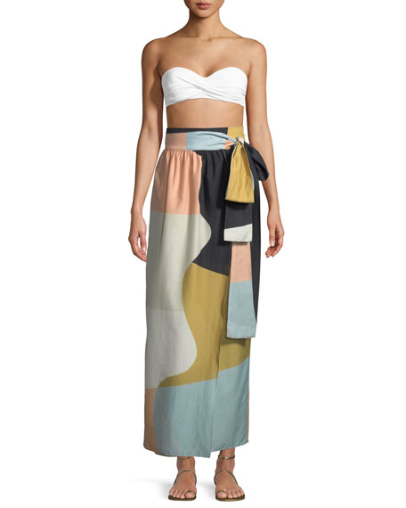 Mara Hoffman Cora Colorblocked Convertible Cotton Coverup Maxi