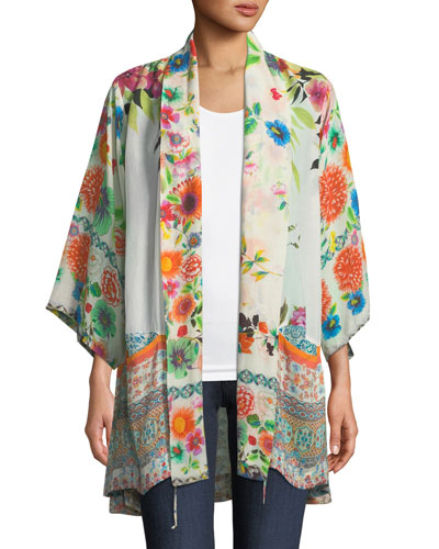 Spring Border Floral-Print Kimono Jacket