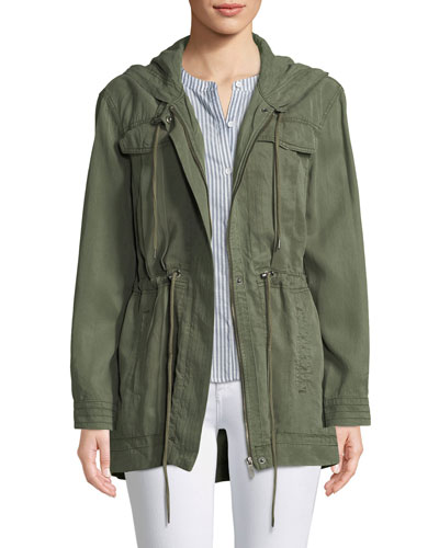 Hooded Zip-Front Anorak Jacket