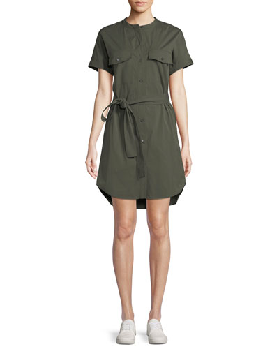 Button-Down Short-Sleeve Belted Cargo Stretch-Cotton Dress